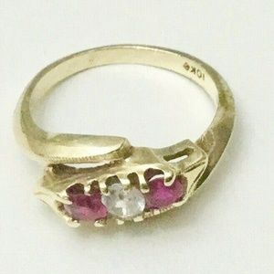Vintage 10k Gold Ruby and white Sapphire Ring